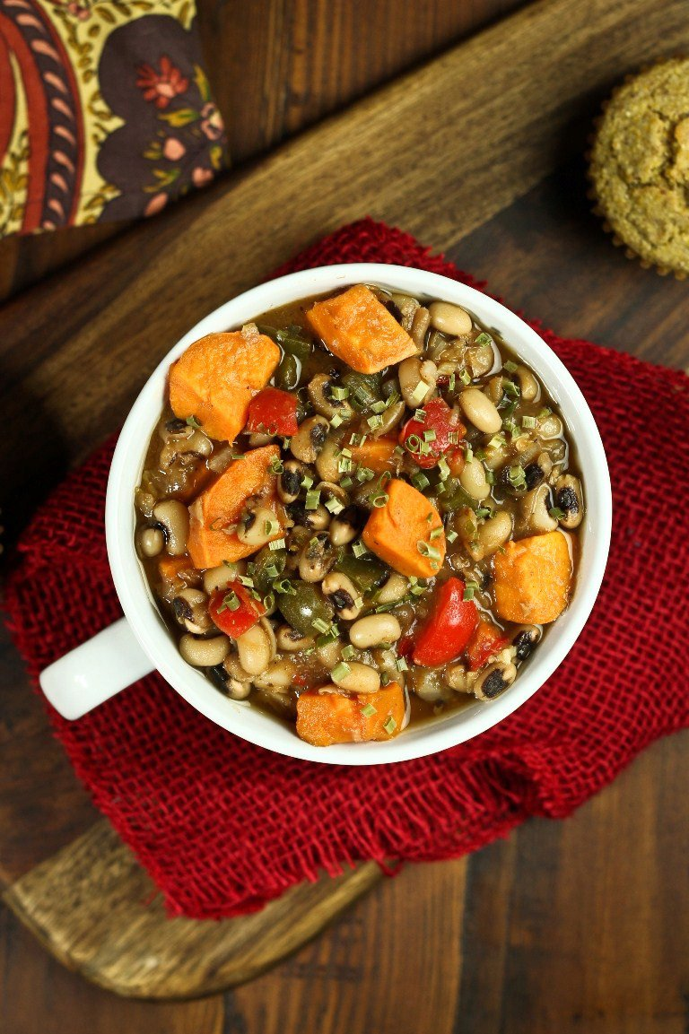 Smoky Sweet Potato Black-eyed Pea Soup