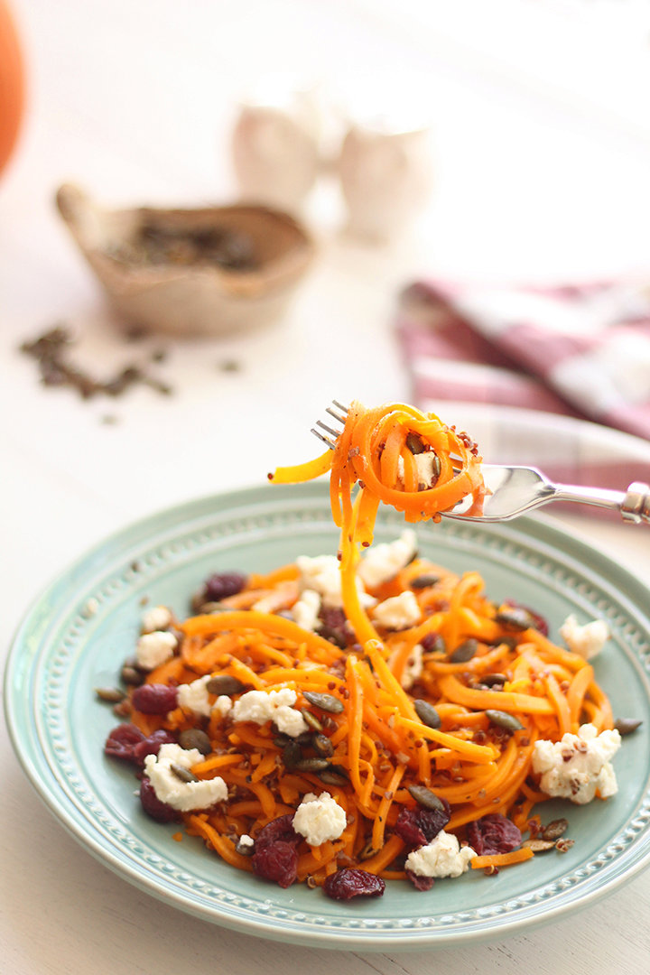 Roasted Butternut Squash Noodles & Quinoa with Spiced Pumpkin Seeds, Dried Cranberries and Goat Cheese